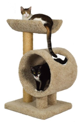 """Molly and Friends """"Loft and Round Premium Handmade 2-Tier Cat Tree with Sisal, Model 34, Beige"""