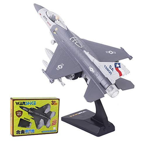 JUEJIDP Military Fighter Model Kits, Metallflugzeug Modell Flugzeug Spielzeug Flugzeug Modell DIY Spielzeug für Home Living Room Decoration,F16 Gray