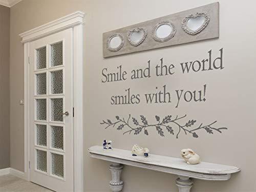 Cita de pared 'Smile and the world smiles with you' Decoración hogareña feliz decoración vinilo PVC transferencia extraíble autoadhesivo, negro, Medium 82cm (w) x 42cm (h)