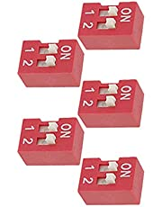 Aexit 5 piezas de color rojo, 2 formas, estilo de diapositiva, placa de tono dorado, contactos DIP Switch (9793d7cbe8825498410282532e70f309)