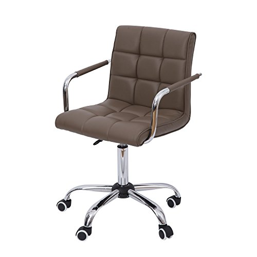 HOMCOM Modern Computer Desk Office Chair with Upholstered PU Leather, Adjustable Heights, Swivel 360 Wheels, Brown