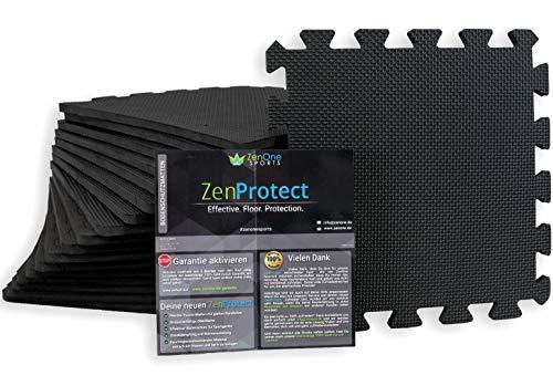 ZenOne Sports ZenProtect Schutzmatten, Set mit 18 Bodenschutzmatten für Sport, Fitnessgeräte & Trainingsräume, Unterlegmatte für Sportgeräte, Gewichthebe-Matte, 18 Puzzlematten à 30 x 30 x 1 cm