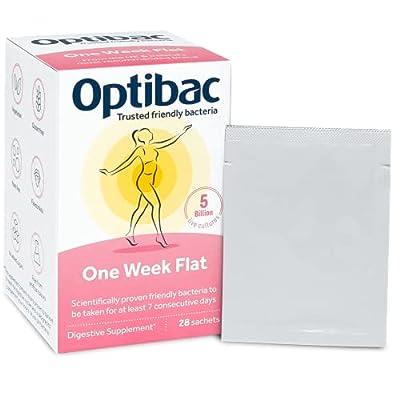 Optibac One Week Flat   Daily 5 Billion Friendly Bacteria Natural Supplement   Lactobacillus Casei   Pack of 28 Sachets