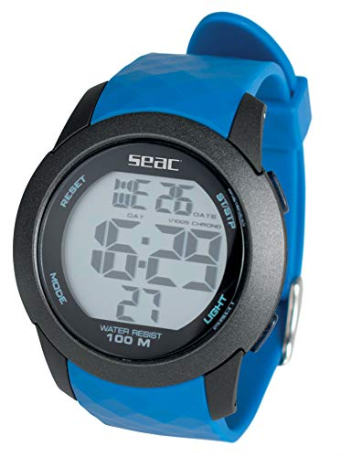 SEAC Chronos, Orologio Digitale Resistente all'Acqua 100 m Unisex Adulto, Blu, Standard