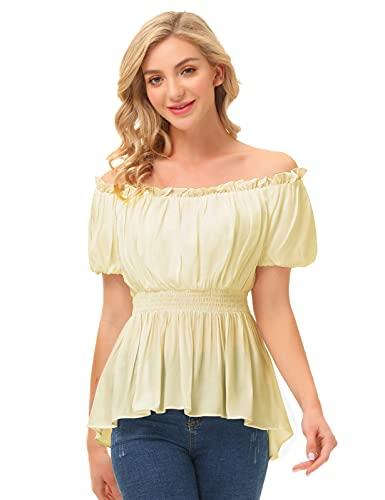 SCARLET DARKNESS Blusa de manga corta para mujer, con hombros descubiertos, con cintura ahumada, albaricoque, M