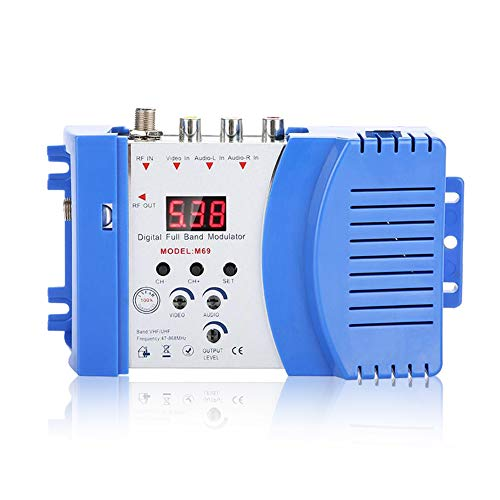 fosa Digital RF Modulator Audio Video AV inputs into RF & TV Output Signals AV-RF AV-TV Converter, VHF UHF Signal Amplifier for Satellite Receivers, Video Cameras, Game Consoles, CCD Cameras(US Plug)