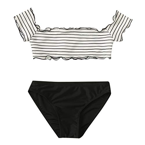 Off Shoulder Tankini Swimsuits for Girls High Waisted Two Piece Striped Bikini Top with Bottom Swimwear Bathing Suits Black
