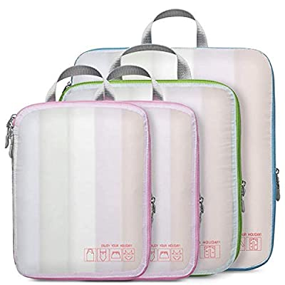 Compression Packing Cubes, Veckle 4 Pcs See-thr...