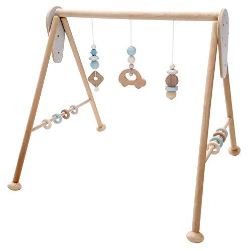 Hess Holzspielzeug 10128446 Babyspielgerät Auto, Spielbogen aus Holz mit Figuren und Rasseln, für Babys ab 0 Monaten, nature blau, ca. 60 x 58 x 55 cm, blau, 1400 g