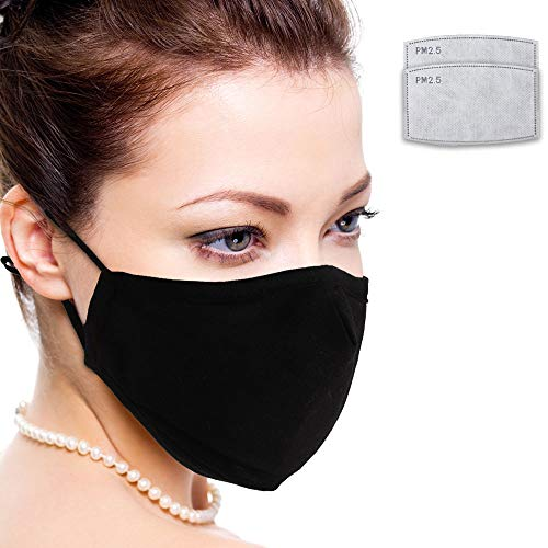 Facial Protection Filtration 95%, Anti-Fog, Dust-Proof With activated carbon filter Adjustable Headgear Nose wire Full Face Protection Masks(One mask plus two filters)