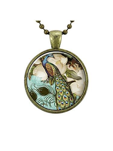 Viktorianischer Stil Pfau Schmuck Glas-Art Anhänger, Pfau Halskette