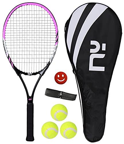 HUIRUMM Raqueta de tenis de 27 pulgadas para adultos, ligera, de carbono, profesional, con bolsa de transporte, incluye 1 banda para el sudor + 1 amortiguador de vibración + 3 pelotas de tenis (rosa)
