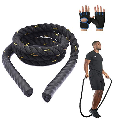 LIGHTONE Heavy Jump Rope, Skipping Rope Workout Battle Ropes for Men Women, Weighted Jump Rope for Total Body Workouts Power Training Improve Strength Building Muscle