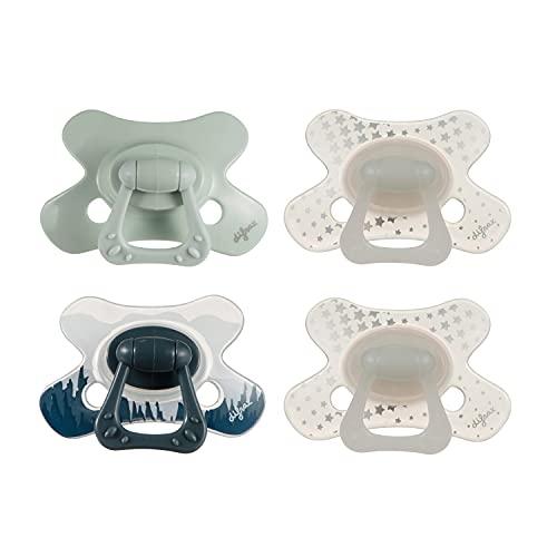 Chupete Difrax Natural 6+ Meses, 4 Chupetes de Silicona, Fáciles de Aceptar, Flujo de Aire Óptimo que Previene la Irritación de la Piel, Chupete Simétrico - Bosque, Pistacho y Brilla en la Oscuridad