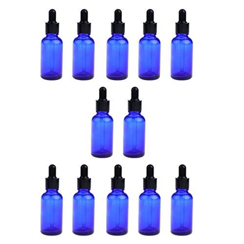 Sharplace 12x Maquillage Compte-gouttes en Verre Vaporisateurs Liquide D'huile Essentielle - Bleu