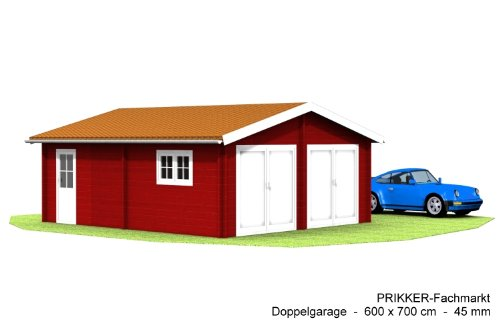 *Blockhaus Doppelgarage Carport – 600 x 700 cm 45 mm Garage Doppel-Garage*