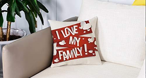 Square Soft and Cozy Pillow Covers,Familia, pancartas rojas con mensaje de amor familiar e ilustración apasionada de corazones bla,Funda para Decorar Sofá Dormitorio Decoración Funda de almohada.