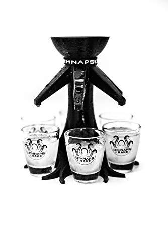 Schnapskrake® - Trinkbaum - Schnapsverteiler für 6 Personen - made in Germany (schwarz, inkl. Gläser) - Schnaps Ausgießer