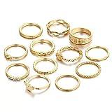 「ALOHAMONI アロハモニ アンティーク ゴールドリング 12個セット 詰め合わせ ヴィンテージ リング 指輪 ゴールド カラー 12個 重ね付け ピンキーリング レトロ レディース フリーサイズ 8号 ~ 11号」の画像