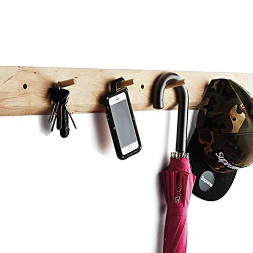 WAJI Natürliche Eiche Holz Diele Wandgarderobe Kleiderhaken Kleiderbügel für Aufbewahrung und Aufbewahrung Schlüsselanhänger,