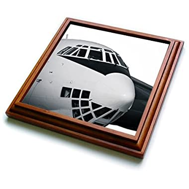 3dRose Alexis Photography - Abstracts of Aviation - Cockpit of a modern cargo plane in black and white - 8x8 Trivet with 6x6 ceramic tile (trv_272040_1)