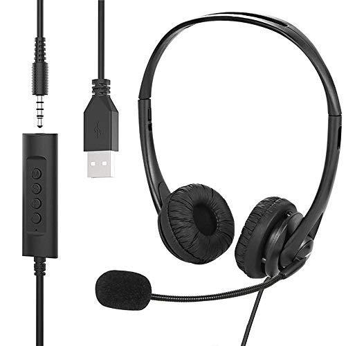 2 Stk 3.5mm Bügelkopfhörer mit Klinkenstecker Kondensator Headset Mic
