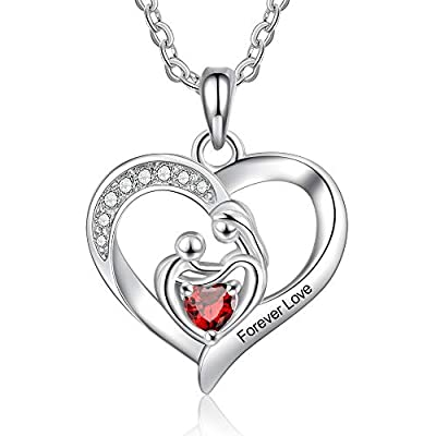 Amazon - Save 50%: kaululu Custom Mothers Pendant Necklace with 2/3/4 Heart Birthstone C…