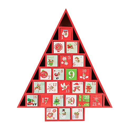 RG-FA Calendario de Adviento de madera de Navidad con cajones, decoración de...