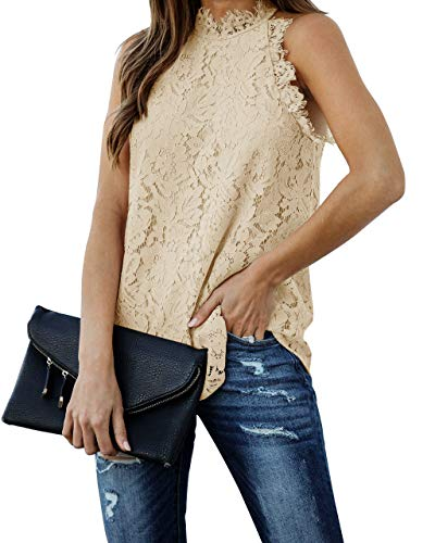 Berryou Women Lace Crochet Hollow Out Tank Tops Casual Blouse Summer Sleeveless Shirts Clubwear 2021 Apricot S