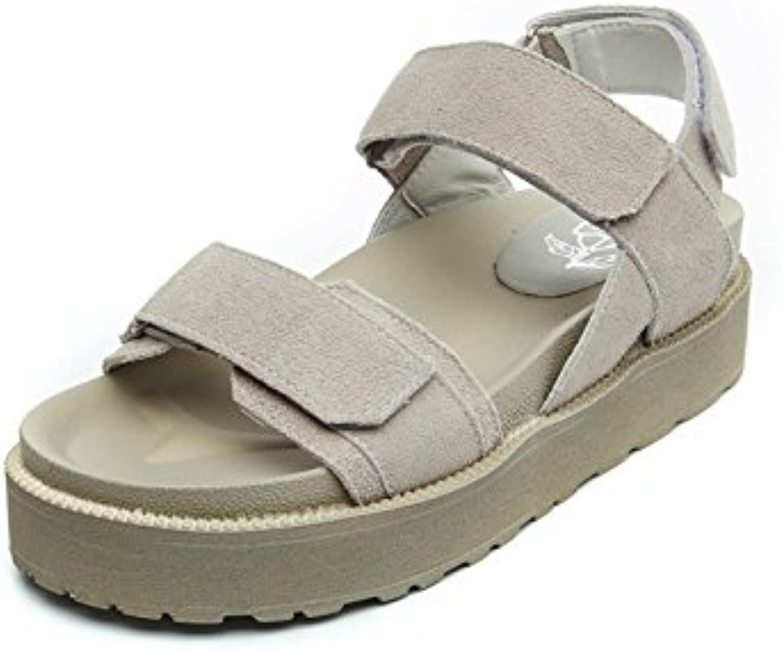 LHJY New Sandals Muffins Women's shoes Summer New Women's Korean Version Flat Heel Casual Muffin Women's shoes Beach shoes