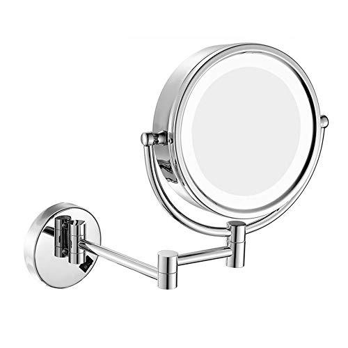 Miroir Grossissant Mural Maquillage Luminueux De Coiffeuse, Double Face Pivotant De 360°, Facile À Installer, Adapté À Un Traitement Facial, À La Beauté du Maquillage,10x