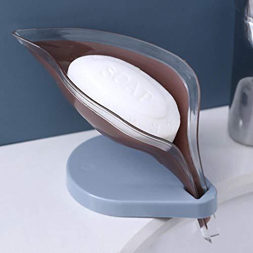 Caja de jabón Sostenedor del jabón del Fregadero de Drenaje Esponja Creative Box Hoja Ventosa jabón Almacenamiento Tendedero de Casos Cepillo de Limpieza de baño Suministros-Rosa Jabonera