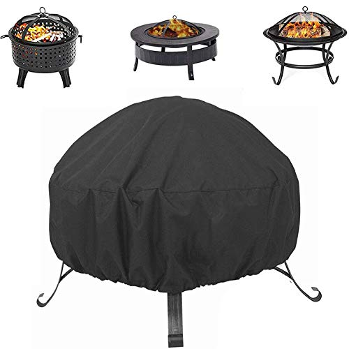 Hoiidel Round Fire Pit Cover 48x18 Inch Waterproof Heavy Duty Outdoor Patio Fireplace Cover with Thick PVC Coating - Black