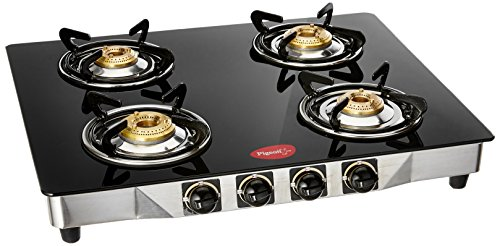 Pigeon By Stovekraft Blackline Smart Stainless Steel 4 Burner Gas Stove, Black