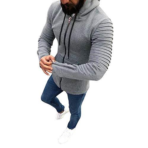 MRULIC Herren Winterjacke Herbst Casual Zipper Mantel Slim Fit Pullover Outwear mit Kapuze Pullover RH-060(Grau,EU-46/CN-M)