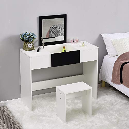 Modern Dressing Table Set with Flip-up Mirror Wood Makeup Table Vanity Console Dresser with Stool Bedroom Furniture Girls Gift (Black and White)