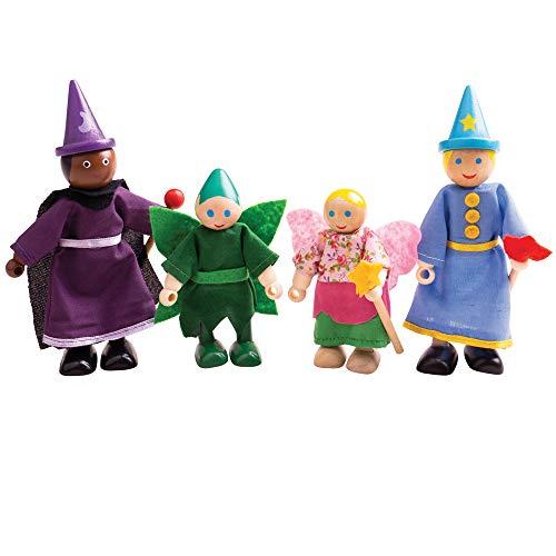 Bigjigs leksaker trä fantasi dockor - trädocka husfigurer