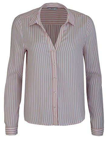 ONLY Damen onlKAJSA L/S Shirt WVN Bluse, Mehrfarbig (Cloud Dancer Stripes: Blush), 38