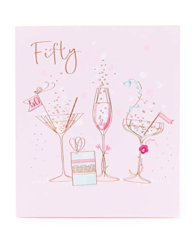 * Bestseller * 50th Birthday Card for Her with fun champagne and cocktail design