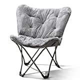 Mainstay Butterfly Chair, Grey Faux Fur + Free Clean Handi Cloth