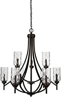 allen + roth Latchbury 32.24-in 9-Light Aged Bronze Craftsman Textured Glass Tiered Chandelier
