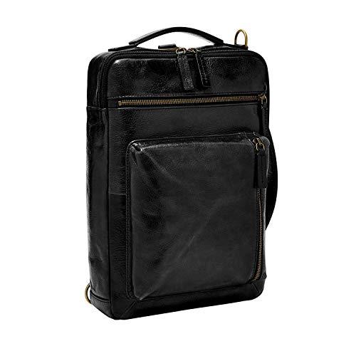 Fossil mens Men s Buckner Leather Large Convertible Sling Bag, Black, 10 L x 2.5 W 13.5 H US