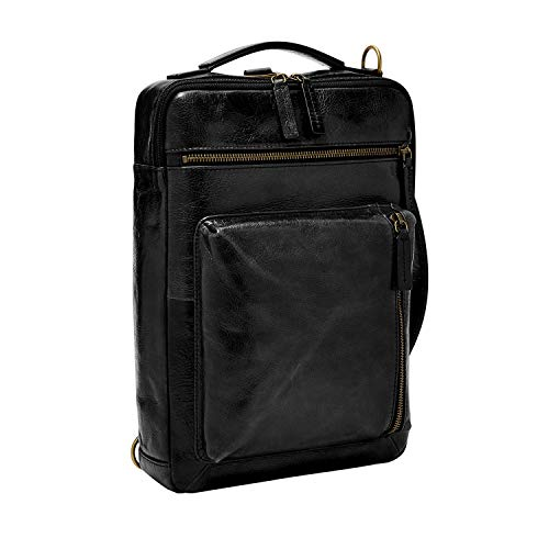 Fossil Buckner Leather Large Convertible Sling Bag, Black