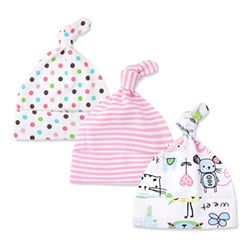 3 Pack Baby Beanie Knoten Hut Neugeboren Jungen Mädchen Baumwolle Einstellbar Kappe zum Baby 0-6 Monate