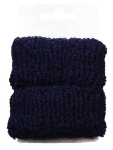 Pair of Large Navy Blue Soft Hair Ponios Donuts Bobbles Bands by Pritties Accessories