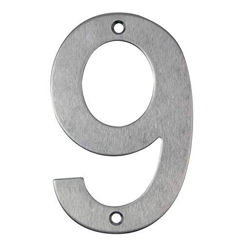 Número de casa, de acero inoxidable para atornillar, número de puerta de diseño (9)