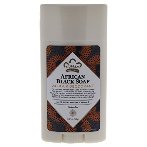 Nubian Heritage 24 Hour Natural Deodorant African Black Soap, 2.25 Oz
