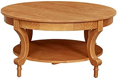Best Amazon Brand – Ravenna Home Traditional Solid Pine Coffee Table, 19H, Oak Finish