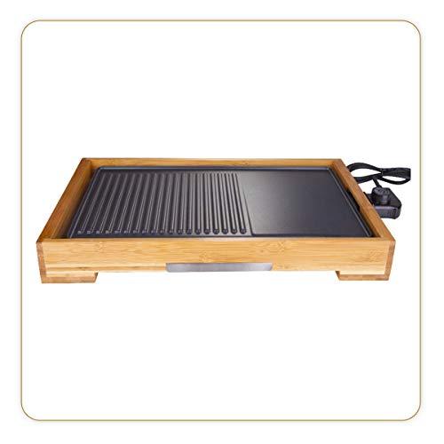 LITTLE BALANCE 8280 Happy Plancha Bambou - Plancha électrique 2 en 1 : Plancha et Grill - 1 seule plaque de cuisson - Tout type d'aliments - Puissance 2200 W - Bambou véritable