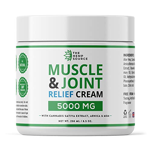Hemp Muscle & Joint Relief Cream 5000MG | Natural Hemp Extract with MSM, Arnica...